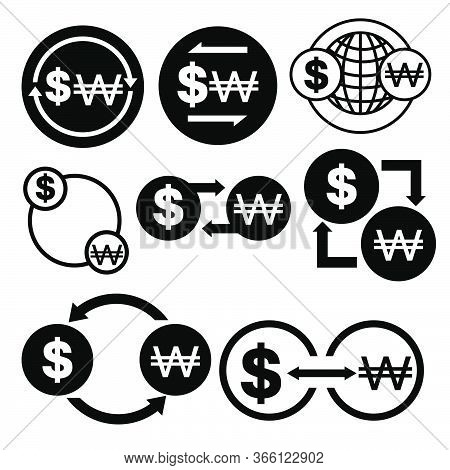 Black And White Money Convert Icon From Dollar To Won Vector Bundle Set