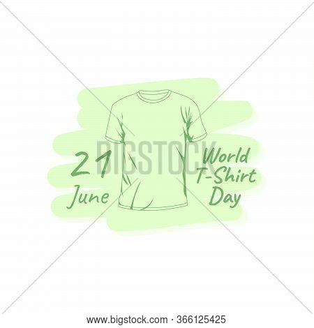 World T-shirt Day Vector With Outline T-shirt Design. Good For Template Or Mockup Of T-shirt