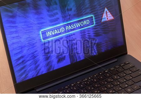 Computer Screen Concept With Password Entry Error. Invalid Password On Blue Background. Red Warning