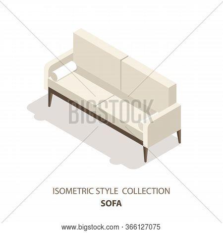 Sofa Isometric Scandinavian Style Vector Icon Or Logo. 3d Vector Illustration Of Sofa. Isometric Fur