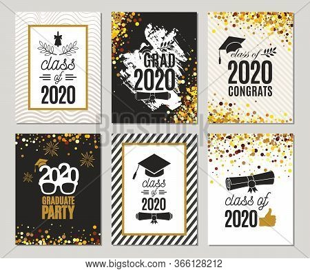 Graduation Class Of 2020 Greeting Cards Set Of Six Templates In Gold Colors. Vector Party Invitation
