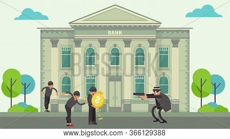 Bank Robbery By Thieves, Crime Committed By Armed Criminals, Robbers Stole Money, Design, Cartoon St