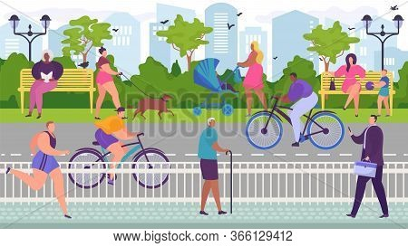 Skating Cyclists In Park Near Roadway, Useful Outdoor Sports, People Relax In City Parkland, Cartoon