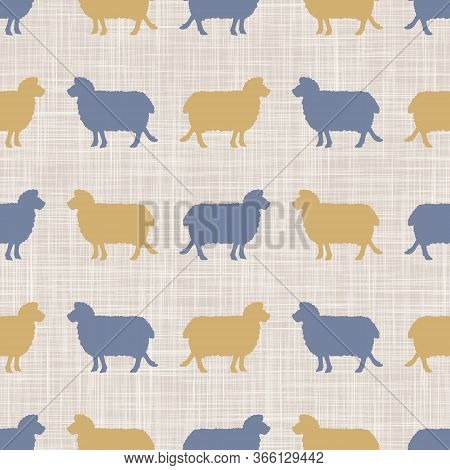 Seamless French Farmhouse Sheep And Silhouette Border. Farmhouse Linen Shabby Chic Style. Hand Drawn
