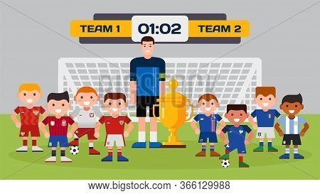 Sport Football Boy Teams With Trainer, Footballing Field, Goal, Trophy Cup On Vector Cartoon Soccer