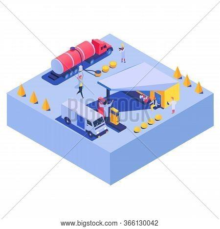 Car Gas Fuel Business Transport Flavoring Concept On Character Vector Machine Gasoline Automobile 3d
