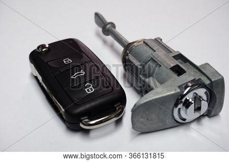 New Folding Ignition Key With Three Buttons Of The Anti-theft Control System For A Modern Car And A