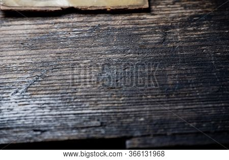 Texture Of Old Vintage Wooden Boards Background Natural Tree Invoice. A Lot Of Space For Advertising