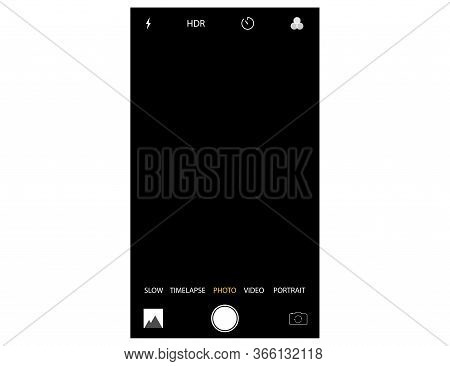 Mobile Camera Interface Mockup. Template Of Photo Screen Of Smart Phone. Slow, Timelapse, Photo And