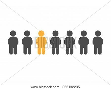 Individual Person In Crowd. Independent Man Between Others. Freedom Of Mind. Illustration Of Individ