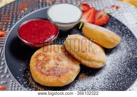 Yummy Pastry With Strawberry Jam And Yoghurt, Bowls Of Strawberry Jam And Yoghurt