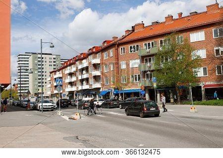 Sundbyberg, Sweden - May 8, 2020: View Of The Thulegatan Street.