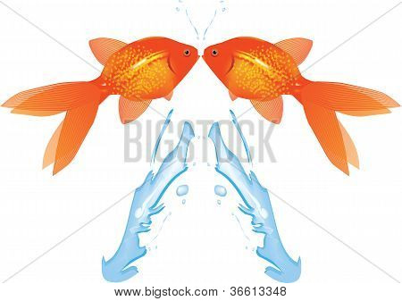 Goldfish Leaping,vector