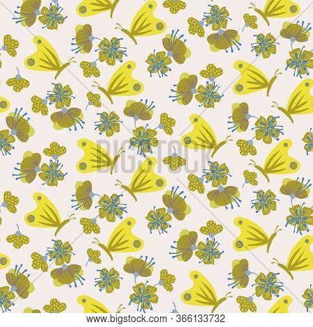Yellow Butterflies And Flowers Seamless Vector Pattern. Summertime Girly Surface Print Design. For F
