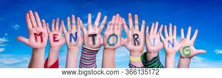 Children Hands Building Word Mentoring, Blue Sky
