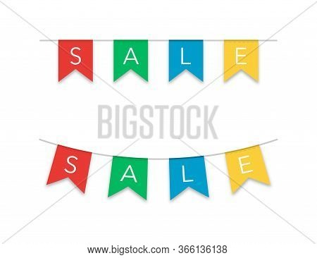 Sale Or Clearance Flags In Flat Design With Shadow In Different Colors. Promotion Banner In Red, Gre