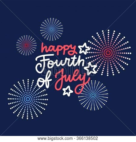 Banner With Festive Fireworks In Honor Of Independence Day. Greeting Card For Fourth July. Vector Fl