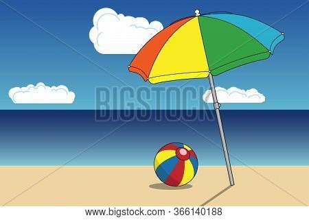 Sunny Sandy Beach Umbrella And A Boll Over Sea And Sky Landscape