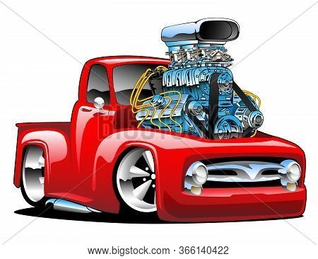 American Classic Hot Rod Pickup Truck Cartoon Isolated Vector Illustration