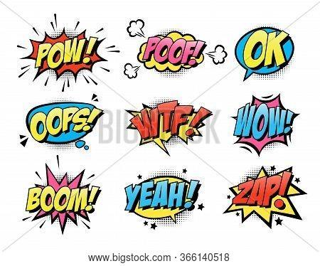 Comic Burst Text Balloons Flat Icon Collection. Cartoon Smash And Surprise Speech Bubbles Vector Ill