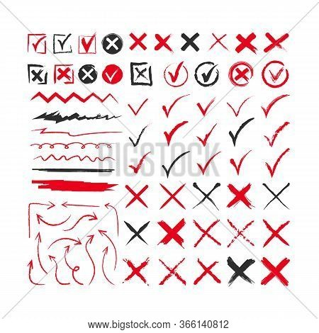 Different Chalk Marks Flat Icon Collection. Arrows, Correct And Check Marks Making With Brush Or Pen