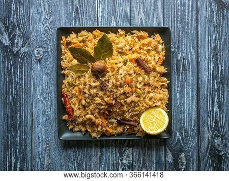 Traditional Indian Vegetarian Biryani. Veg Biryani Recipe. Top View, Copy Space.