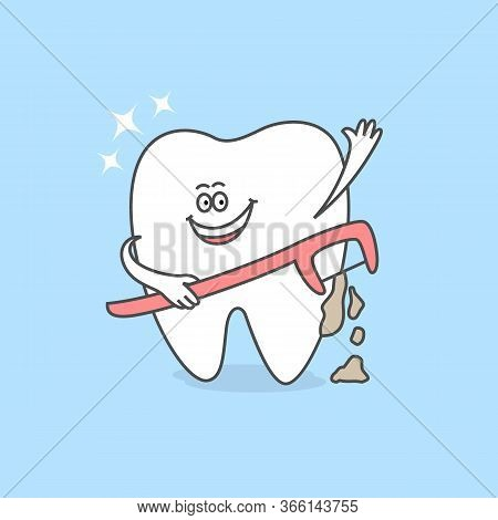 Cartoon Tooth With A Dental Floss Stick Or A Floss Holder. Teeth Care And Hygiene Icon. Dental Illus