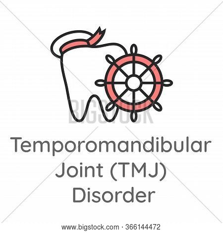 Temporomandibular Joint Disorder (tmj). Tooth With The Ship Wheel. Dental Icon. Web Pictogram For De