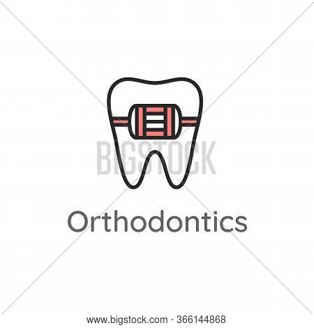 Orthodontics. Tooth With Metal Braces Or Bracket System. Dental Icon. Web Pictogram For Dentistry. S