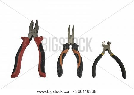 Cutting Pliers  And Pliers Open And Close Isolated On White Background. Builder, Construction And Re
