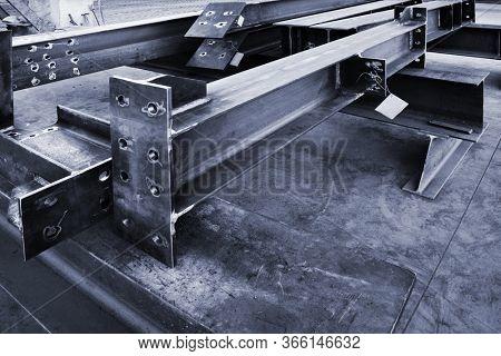 new welded metal beams on modern plant