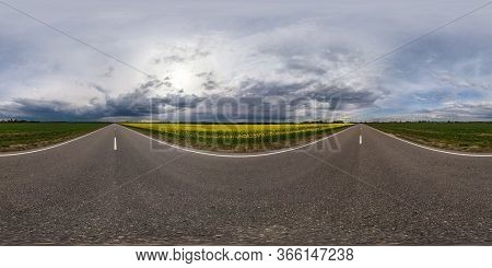 Full Seamless Spherical Hdr Panorama 360 Degrees Angle View On Asphalt Road Among Fields In Evening