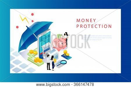 Isometric Money Protection Concept. Moneybox With Gold Coins, Business People, Investor, Smartphone