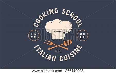 Food Logo. Logo For Cooking School Class With Icon Bbq Tools, Grill Fork, Spatula, Text Typography C
