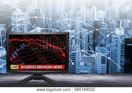 3d Rendering Of Live Business Breaking News Update On Tv Screen With Stock And Financial Indicators
