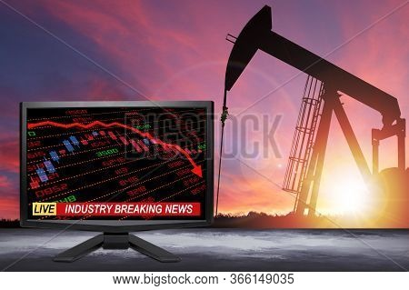 3d Rendering Of Live Oil Industry Breaking News On Tv Screen With Stock And Financial Indicators Sho