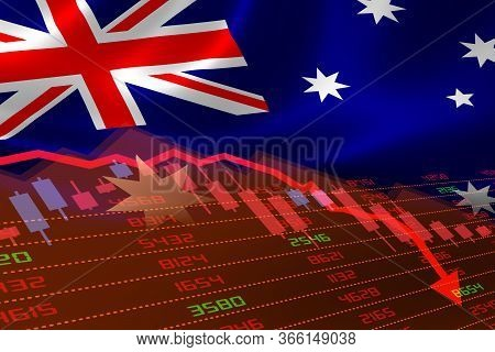 3d Rendering Of Australia Economic Downturn With Stock Exchange Market Showing Stock Chart Down And