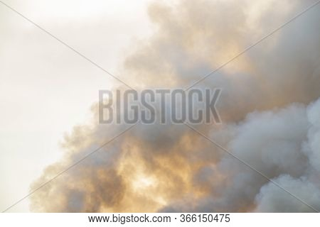 Raging Smoke Pattern Background Of Fire Burn In Grass Fields, Forests And Black And White Smoke To S