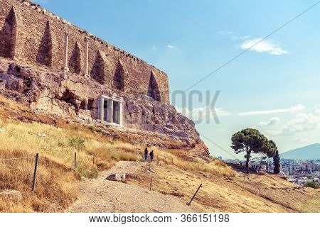 Acropolis Hill In Summer, Athens, Greece, It Is A Top Tourist Attraction Of Athens. Scenic View Of F