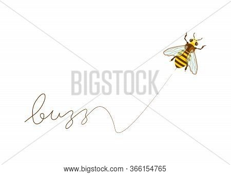 Flying Honey Bee Leaves A Mark - Buzz. Funny Animal Cartoon Character Isolated On White. Flat Art Ve