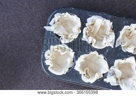 Homemade Food, Filo Pastry In Muffin Tray Ready For Filling