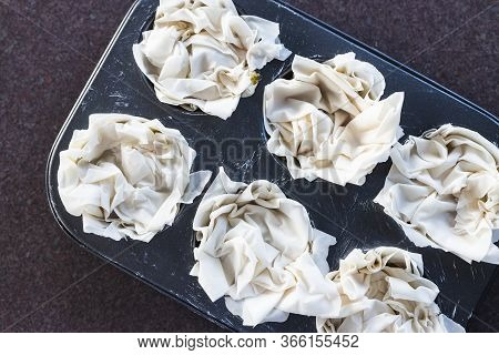 Plant-based Food, Filo Pastry Cups With Vegan Filling Before Going In The Oven