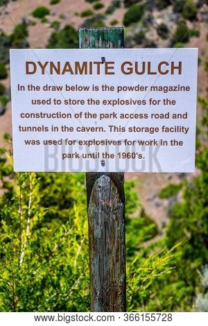 A Description Board Of Storage Facility In Lewis And Clark Caverns Np, Montana