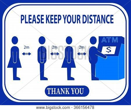 Please Keep Your Distance,cashier Sign Vector.social Distancing And Infection Risk Reduction Concept
