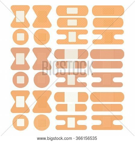 Set Of Medical Patches, Adhesive Bandage, Adhesive Plaster. Elements For Design Of Medical Center, P