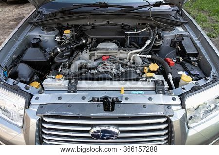 Novosibirsk/ Russia - May 03 2020: Subaru Forester, Car Engine Close-up. Internal Combustion Engine,
