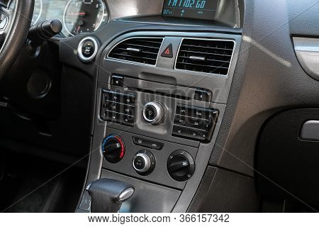 Novosibirsk/ Russia - May 03 2020: Brilliance V5, Close-up Of The Central Control Panel, Monitor Wit