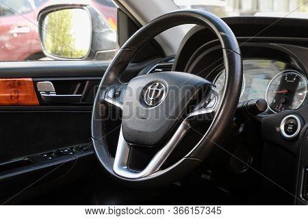 Novosibirsk/ Russia - May 03 2020: Brilliance V5, Prestige Car Interior With Dashboard, Steering Whe