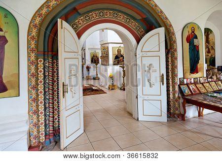 Interior Of Russian Orthodox Church In Novgorod Region, Russia.