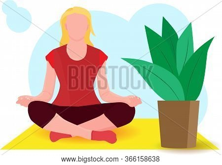 Woman Meditating At Home During Quarantine Time. Concept Illustration For Yoga, Meditation, Relax, R